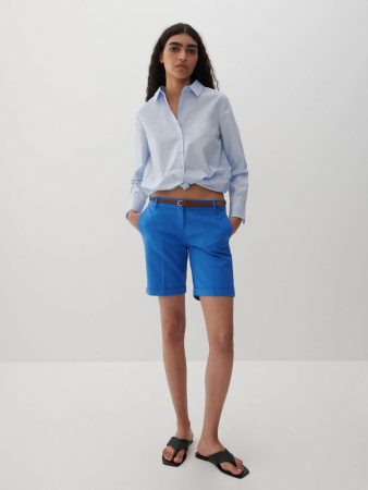 Womens Shorts With Belt Blue | Reserved Shorts