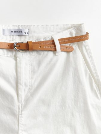 Womens Shorts With Belt Ivory | Reserved Shorts