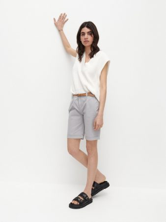 Womens Shorts With Belt Light Grey | Reserved Shorts