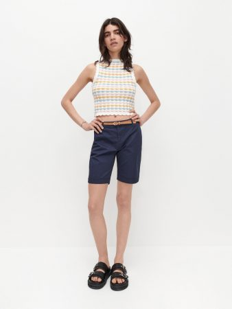 Womens Shorts With Belt Navy | Reserved Shorts