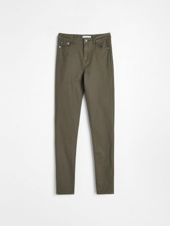 Womens Slim Fit Trousers Khaki   Reserved Trousers