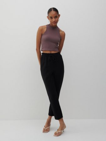Womens Structural Fabric Trousers Black | Reserved Trousers