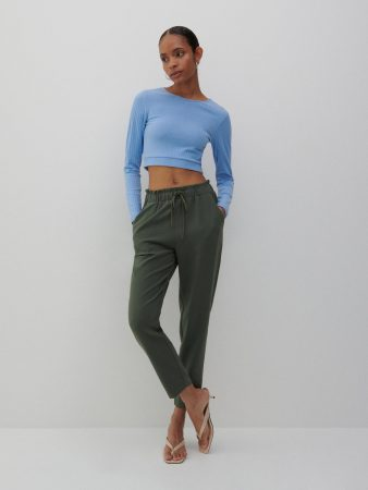 Womens Structural Fabric Trousers Khaki | Reserved Trousers