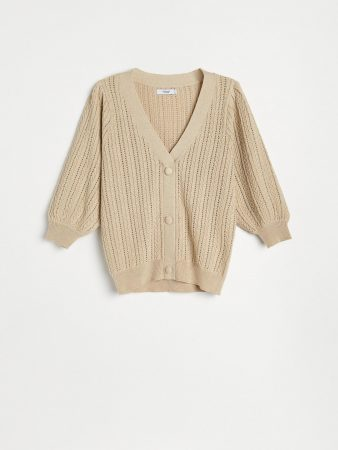 Womens Structural Knit Cardigan Beige   Reserved Blouses