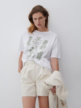 Womens T-Shirt In Organic Cotton White   Reserved T-Shirts, Tops
