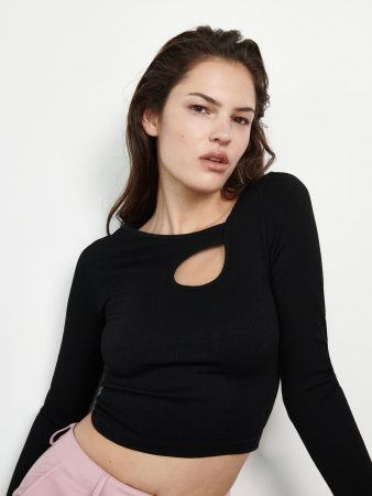 Womens Textured Knit Blouse Black   Reserved Blouses