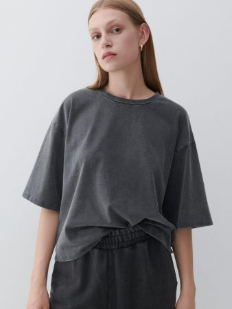 Womens Wash Effect T-Shirt Grey | Reserved T-Shirts, Tops