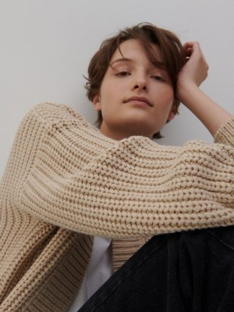 Womens Cropped Cardigan Beige | Reserved Jumpers, Cardigans