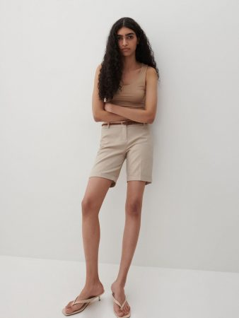 Womens Shorts With Belt Beige | Reserved Shorts