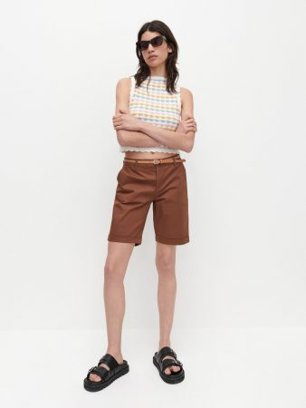 Womens Shorts With Belt Brown | Reserved Shorts