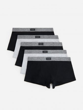 Mens Organic Cotton Rich Boxers 5 Pack Black | Reserved Underwear